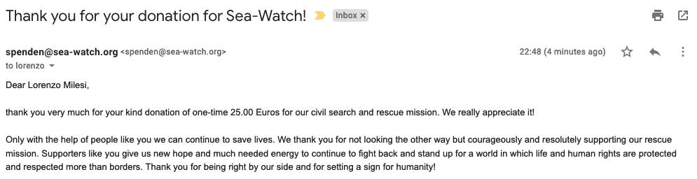 Email di ricevuta donazione a Sea-Watch